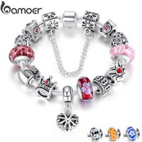 Wholesale bracelet for anniversary sale resale online - BAMOER Queen Jewelry Silver Charms Bracelet Bangles With Queen Crown Beads Bracelet for Women ANNIVERSARY SALE PA1823