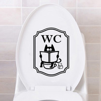 Wholesale unique murals resale online - Cute Cat WC Pattern Toilet Wall Stickers Unique Accessories Removable Decal Vinyl Mural Creative Washing Room door Decorations