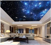 Wholesale living room decorative wallpaper resale online - High Quality Custom photo wallpaper d ceiling murals wallpapers Fantasy universe starry sky zenith mural decorative painting wall papers