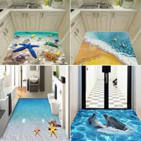 dauphins vivants achat en gros de-Détail 6 styles enfants Halloween 3D stickers muraux marine dauphin étoiles de mer corail autocollants de sol salon chambre vert peinture décorative