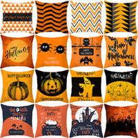 fundas de almohada sofá al por mayor-Hallowmas Pumpkin Square Sofá Throw Pillow Case Car Back Cojín Decoración Cover Halloween Ghost Pillow Case Decoración para el hogar LJJK1826