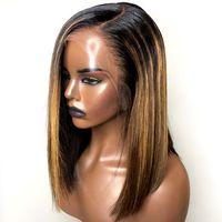 farbe perücke highlights groihandel-PAFF Ombre Highlight unsichtbare Farbe Spitze-Front-Menschenhaar-Perücken für Frauen brasilianische Remy Haar-volle Spitze-Perücke Gebleichte Knoten