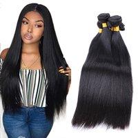 doğal renk insan saçı örgüleri toptan satış-Malezya Düz Saç Örgü% 100% İnsan Saç Paketler İşlenmemiş Remy Saç Uzantıları Doğal Siyah Renk 3 veya 4 Demetleri Tam kafa
