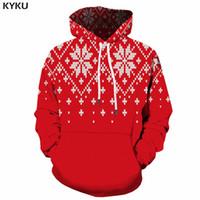 suéteres de navidad de la vendimia de los hombres al por mayor-KYKU Christmas Hoodie Men Funny Xmas Sweaters 3d Hoodies Vintage hombre rojo impreso sudadera Anime patrón largo para hombre ropa nueva