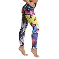 leggings divertidos al por mayor-2019 Sexy Funny Print Harajuku Pantalones de yoga Cintura alta Fitness Leggings deportivos Bodybuild femenino leggins Push Up Athletic Sportswear # 616790