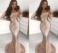 vestido de fiesta largo negro de manga larga al por mayor-Impresionantes lentejuelas llenas sirena vestidos de baile 2019 manga larga fuera del hombro mujeres negras africanas ocasión fiesta vestidos vestido de noche BC1643