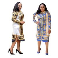 ingrosso abiti in stile roccia-2019 New fashion Stampa africana Elastico Bazin Rock Style Dashiki full Sleeve Abiti centrali famosi con cintura
