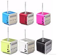 altavoces micro usb para laptop al por mayor-TD-V26 Mini Altavoz Reproductor de Música Micro SD TF USB Radio FM Portátil Estéreo para Teléfono Móvil Portátil PC MP3 W