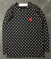 hoodie kırmızı adam toptan satış-Harajuku Erkek Kadın Siyah kırmızı kalp DES oyun GARCONS CDG nakış Kalp uzun Kollu şerit T-Shirt Nakış Kırmızı Kalp tops tee hoodies