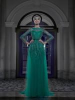 yeşil dantel kanadı toptan satış-2019 Zarif Yeşil Sparkly Uzun Kollu Kristal Dantel Boncuk A-Line Parti Abiye Kat Uzunluk ile Kanat Akşam elbise