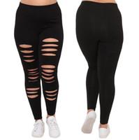ingrosso buchi neri di ghette-Femmina Plus Size Donne Black Hole Large Sexy Leggings Pantaloni sportivi pantaloni pista flessibile Pantaloni sportivi Pantaloni sportivi