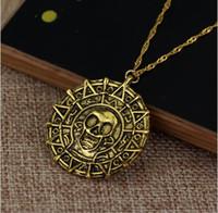 ожерелья карибы оптовых-Ювелирные изделия Карибское пиратское ожерелье ацтекская золотая монета ожерелье мужская череп ожерелье