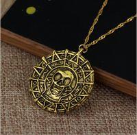 karibische halsketten großhandel-Schmuck Karibik Piraten Halskette Aztec Goldmünze Halskette Herren Schädel Halskette