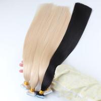 en çok satan insan saç uzantısı toptan satış-CE Belgelendirme En çok satan fabrika fiyat 100% virgin İnsan saç 80 adet bant saç düz dalga saç uzantıları