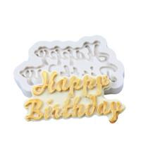 feliz aniversário molde venda por atacado-3D Feliz Aniversário Carta Molde De Silicone De Chocolate Fondant Bolo Moldes Ice Jelly Soap Mold Baking Mould Bolo Decoração Ferramentas