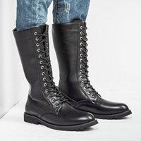 militärische knie hohe stiefel männer großhandel-Kniehohe Stiefel Herren Militärstiefel Leder Hohe Herren Lange Reitermotorradstiefel
