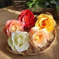 caixa de rosa de seda venda por atacado-Flor Artificial 9,5 centímetros da festa de casamento Silk Rose Cabeça de Flor Decoração DIY grinalda Scrapbook Gift Box Artesanato EEA744