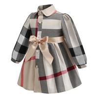 neue kleider mädchen revers großhandel-Geburtstagskostüm INS Frühjahr neue Stile europäischen und amerikanischen Stilen Mädchen Revers Langarm hochwertige Baumwolle großen Karo-Kleid