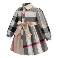 trajes de vestido longo venda por atacado-Roupa de aniversário INS primavera novos estilos estilos Europeus e Americanos meninas lapela manga comprida de algodão de alta qualidade grande vestido xadrez