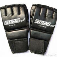 ingrosso mezzo uomo di guanti in pelle-1 paio Pu pelle guantoni da boxe Sport uomini e mezzo Finger Gloves Thai Boxe Training Mittens ingranaggio protettivo 21bo Ww