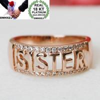 Wholesale sister rings resale online - OMHXZJ European Fashion Woman Girl Party Wedding Gift SISTER White Zircon KT White Gold Rose Gold Ring RR466