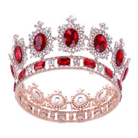 coronas de alta gama tiaras al por mayor-525g Altura Grande de gama Alta Royal Queen Gold Rhinestone Tiaras Coronas de Lujo Novias Hairbands Cristal Completo de La Boda Accesorios Para el Cabello