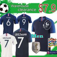 рубашки мужского пола оптовых-Ликвидация 18 19 трикотажные изделия футбола GRIEZMANN MBAPPE POGBA и майки чемпионата мира по футболу 2018 года. Футболки DEMBELE MATUIDI KANTE.