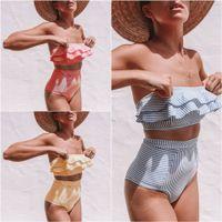 Wholesale yellow push up swimsuit for sale – plus size Women Swimwear Sexy Push Up Bikinis Irregular Stripe Falbala High Waist Two Piece Swimsuit Beach Style Bathing Suits