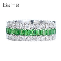 Wholesale solid 14k rings resale online - BAIHE Solid K White Gold ct Natural Tsavorite ct Natural Diamonds Fine Jewelry Wedding Ring beautiful Gift Couple Ring