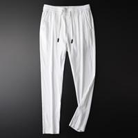 hilo de lino teñido al por mayor-Minglu Yarn Dyed Linen Man Pants Plus Size 4xl Luxury Stripe Vertical Ventilate Men Pantalones casuales Nuevo Elástico Flaco Men