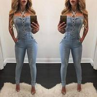 monos xl para mujer denim al por mayor-2017 nueva moda sexy verano vendaje Mujeres Moda Denim Jeans BIB Pantalones Monos Correas Jumpsuit Mamelucos Pantalones