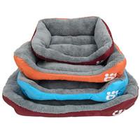Wholesale plastic dog mats resale online - Candy Color Footprint Pet Bed paw Supplies Square Shape Dog Pads Cute Warm Plush Creative Convenient Mould Sofa LJJA2461
