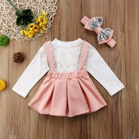 Wholesale 3pcs clothes for sale - Long Sleeve Lace Tops Sequin Strap Skirt Bow Headband Princess Outfits Girl Clothing T Toddler Kids Girls Clothes Set