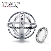 Wholesale diamond ball rings for sale - Group buy YHAMNI New Original Silver Astronomical Ring Sphere Ball Ring Rotating Cosmic Rings for Couple Lover Gift Jewelry R771