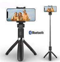 selfie stick monopod bluetooth a distancia al por mayor-3 en 1 Bluetooth inalámbrico Selfie Stick para iPhone 8 X 7 6 s más plegable de mano Monopod obturador remoto extensible Mini trípode