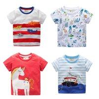 ingrosso boat neck shirt-T-shirt bambini T-shirt a righe Manica corta Girocollo stampato Baby Cartoon Letters Unicorn Crocodile Animal Boat 23