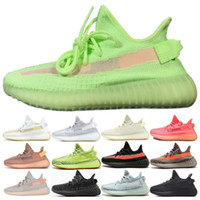 sapatas da fluorescência venda por atacado-2019 Nova Gid Verde Fluorescência V2 Casual Running Shoes Brilho no escuro Chaussures v2 Das Mulheres Dos Homens de Esportes Tênis Tamanho 36-46