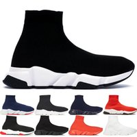 Wholesale white patent leather boots women for sale - Group buy Luxury designer Fashion sock shoes Top quality Speed Trainer casual shoes men women Runner Triple Black Boots Flat shoes sneakers