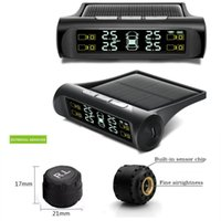 Wholesale wireless car alarm systems resale online - Freeshipping Solar Power Car TPMS Wireless Tire Pressure Monitor Alarm System LCD Display