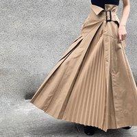 jupe plissée taille plus kaki achat en gros de-Femmes Jupe plissée 2019 coréenne ordinaire longueur cheville Kaki Harajuku Plus Size Jupes asymétriques Casual Boho Ladies long bureau