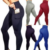 kadın sıkı spor pantolon toptan satış-Cepler Tozluklar Stretch Yüksek Elastik Gym Tayt Kadınlar Legging Running Egzersiz Koşu ile Kadınlar Spor Tozluklar Yoga Pantolon