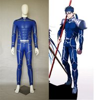 Wholesale leather jumpsuit halloween online – ideas New Fate Extra Stay Night Lancer Cosplay Costume Chulainn PU Leather Jumpsuit Halloween Adult Costumes for Women Men Customized