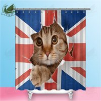 ingrosso tende da sole stella-Vixm Cat Bath Shower Curtain Funny Star Spazio impermeabile Cat shower tende bagno tenda tessuto bagno tende per il bagno