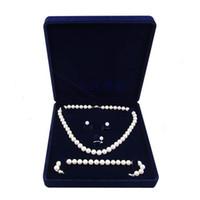 conjuntos de jóias de veludo venda por atacado-19x19x4cm caixa de presente de jóias de veludo longo colar de pérolas caixa de presente caixa de exibição de alta qualidade cor azul