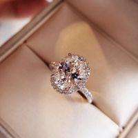frühjahrssimulation großhandel-2019 frühjahr neue limited edition taubenei diamant ring S925 silvesterlingr vergoldet oval wassertropfen simulation diamant ring sui