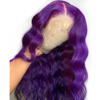 Long deep part Body Wave Purple Lace Front Wig Side Part Synthetic full lace Wigs for Women Heat Resistant Glueless Wig