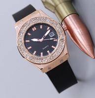 modern saat markaları toptan satış-Reloj mujer yeni marka basit lüks bilezik bayanlar elbise saatler tam elmas izle kadın moda gün tarihi siyah Kauçuk kayış kuvars saat