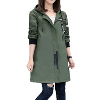 Wholesale long trench coat hood resale online - 2017 New Spring Autumn Trench Coat Women Causal Long Sleeve With Hood Medium Long Army Green Female Coat Casaco Feminino Coats