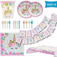 Wholesale tablecloth setting resale online - Cartoon Unicorn Theme Sets Prints Cups Plates Forks Spoons Tableware Suits Banner Flags Tablecloth Kits yc E1