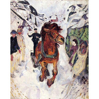 at resimleri toptan satış-Edvard Munch resimlerinde Galloping horse modern sanat yağlıboya tuval El Yapımı sanat Hediye